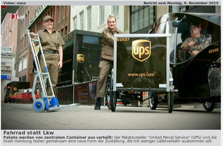 Zusteller von UPS mit Sackkarre udn Cargobikes vor Mikro-Depot