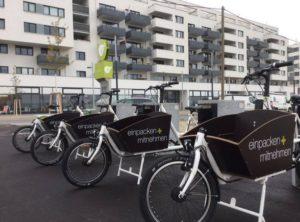 Vier eCargobikes in vollautomatisiertem Sharing Angebot SeeestadtFLOTTE in Wien Aspern.