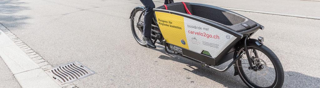 Sharing Angebot carvelo2go in Bern mit hochwertigen eCargobikes