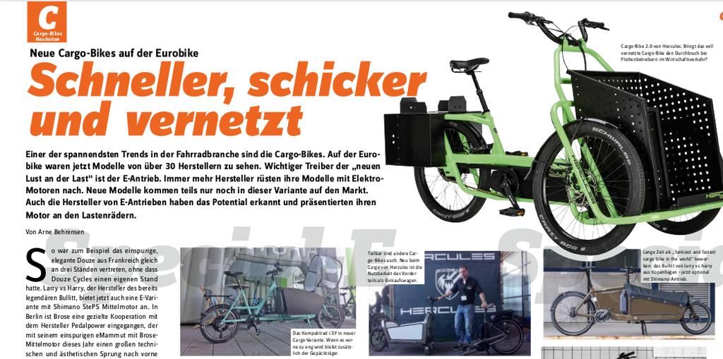 Bildschirmfoto Special-E Nr. 4 Cargobike-Rubrik