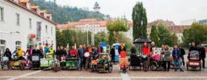 Cargobike Gettogether auf dem Mariahilfer Platz in Graz