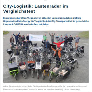 Logistra online über den ExtraEnergy-Sondertest Lasten Pedelecs