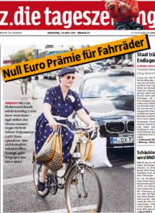 """taz Titeilseite """"Null Euro Prämie für Fahrräder"""""""