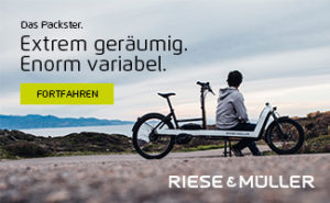 Supporter Banner Riese & Müller: Das Packster. Extrem geräumig. Enorm variabel.