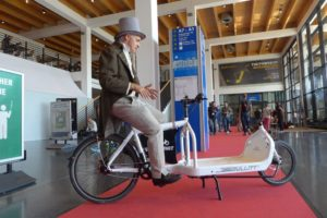 Karl Drais auf Cargobike bei der EUROBIKE 2016