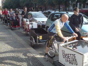 Cargobikes auf Radstreifen