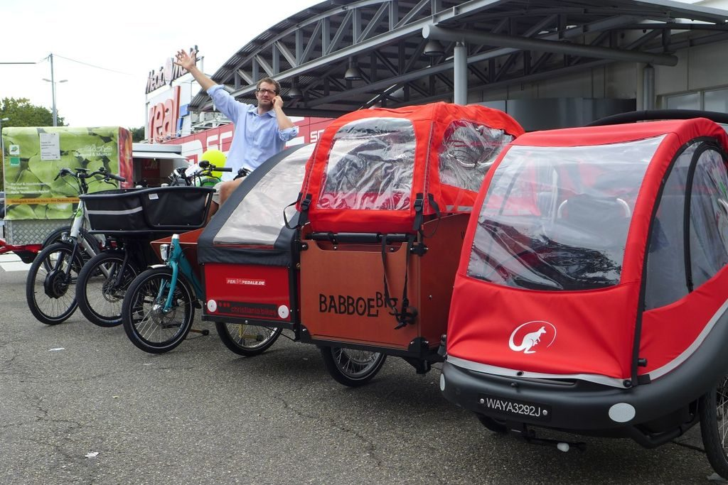 Cargobike Roadshow 2016 in Mainz am Gutenberg Center. Foto: cargobike.jetzt
