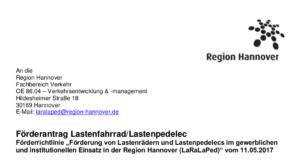 Förderantrag Lastenfahrrad/Lastenpedelec der Region Hannover