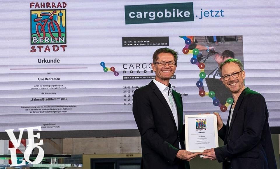 cargobike.jetzt mit FahrradStadtBerlin-Preis ausgezeichnet