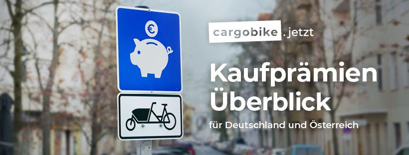 Banner cargobike.jetzt Kaufprämien-Überlick für Deutschland und Österreich - powered by ZIV, JobRad und KlimaEntLaster