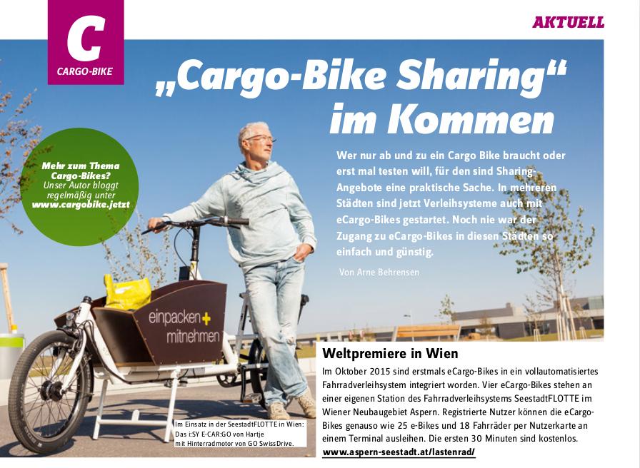 """Cargobike-Kolumne in Special-E Nr. 5 - 2016: """"Cargo-Bike Sharing"""" im Kommen"""
