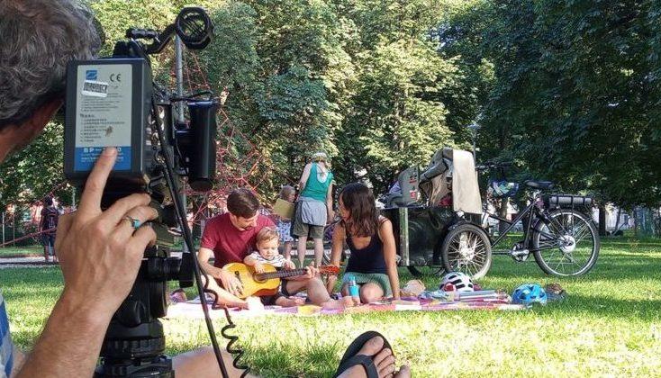 Filmdreh mit Lastenrad