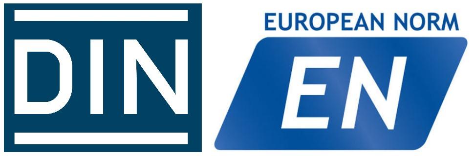 Logos von DIN und EN sicherheit schwerlasträder